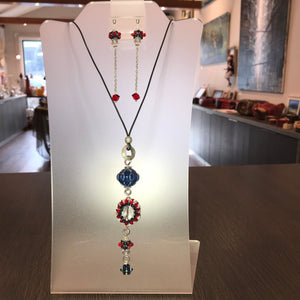 Hand Made Jewelry set with Swarovski crystals and ceramic beads