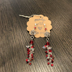 Hand made Jewelry set Red with Swarovski crystals