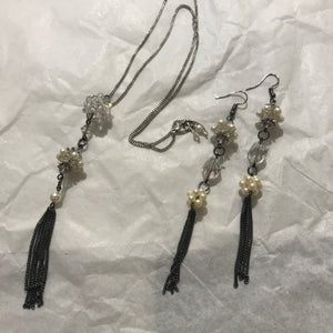 Hand made Jewelry Necklace/Earrings with Swarovski Crystals White/Gray