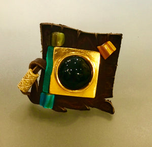 Hand Made Leather Ring with Turquoise
