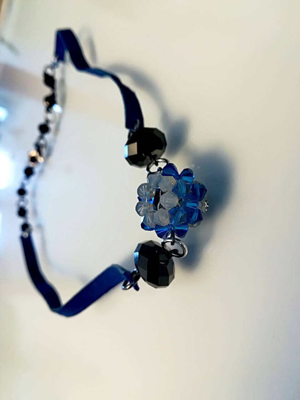 Hand made Bracelet/Necklace Earrings with Swarovski crystals Blue