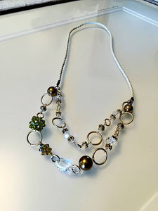 Hand made Jewelry Necklace/Earrings with Swarovski Crystals Green