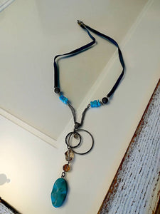 Hand made Necklace with Turquoise and Leather