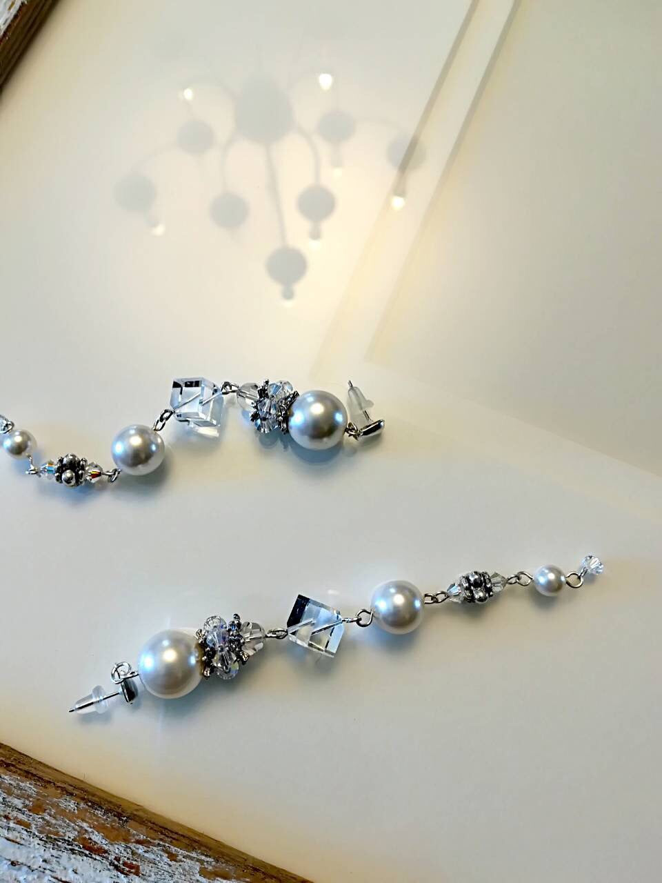 Hand made Earrings  With Swarovski Pearls and Crystals