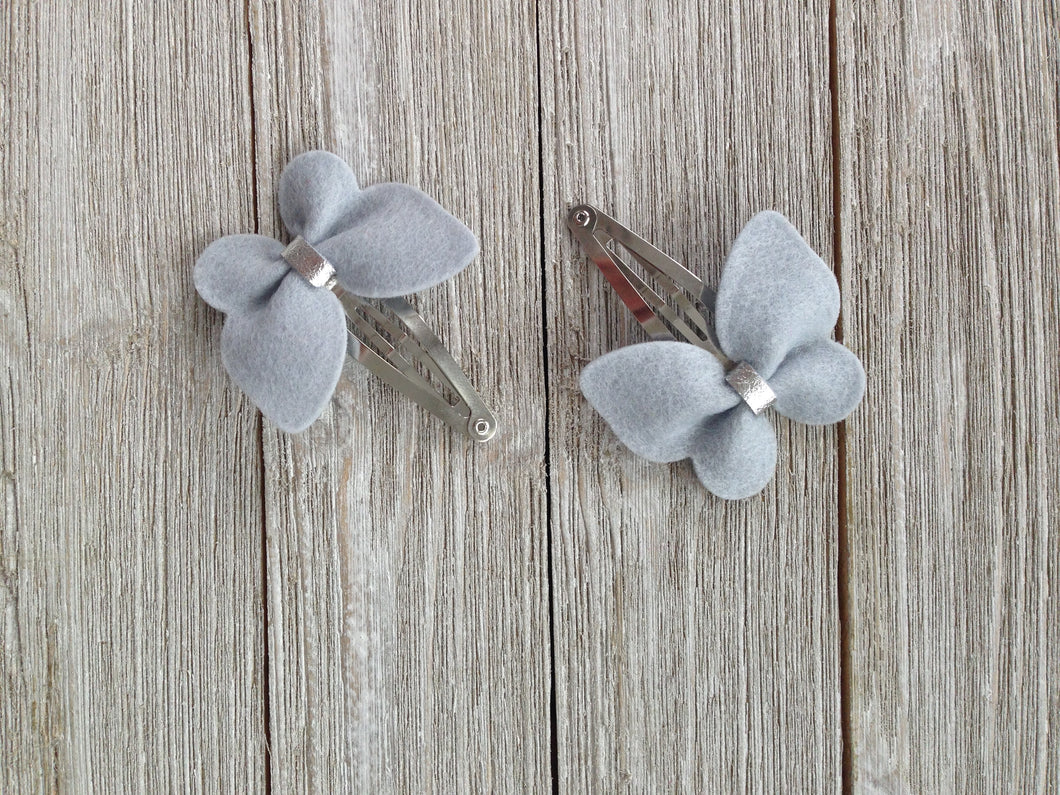 Handmade Hair Bows Gray
