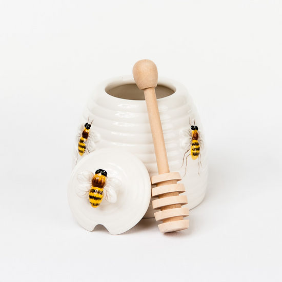 Beehive Honey Pot w/Dipper, Earthenware, 4.2