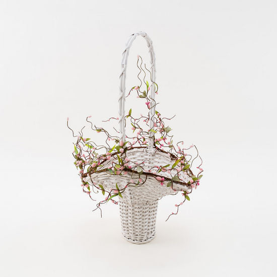 Pussy Willow Tall Handle Basket, Willow, 18