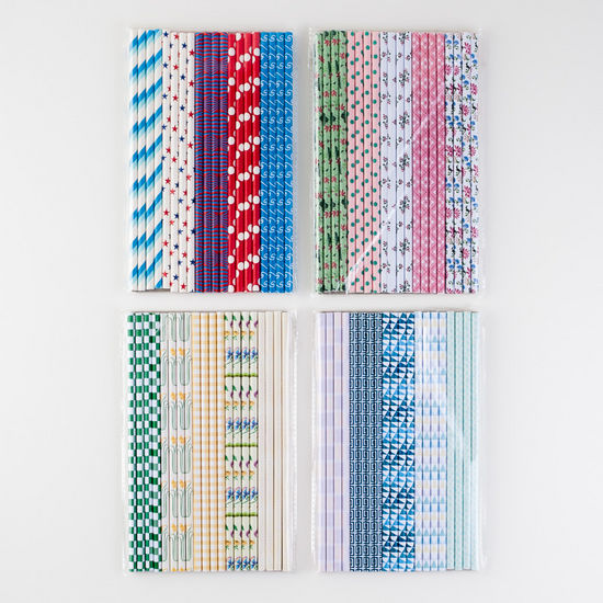 Patterned Paper Straws, Pack of 20, 4 Asst