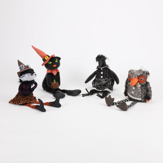 Crow/Owl/Fox/Cat Doll, 4 Asst