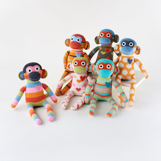 Sock Monkey, 6 Asst, Knit/Acrylic, 16