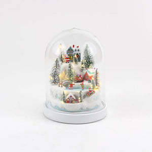 Domed Winter Scene, Resin/Glass, 8.25 Dia, x 10.75 H