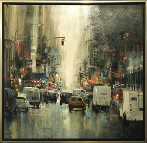 Oil Painting ''New York 1'' By Rolandas Mociunas 2018