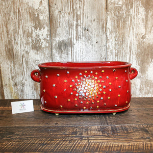 Large Ceramic Flower Pot (Red, White or Blue)