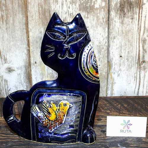 Medium Ceramic Cat (Blue, Green, White, Brown, or Red)
