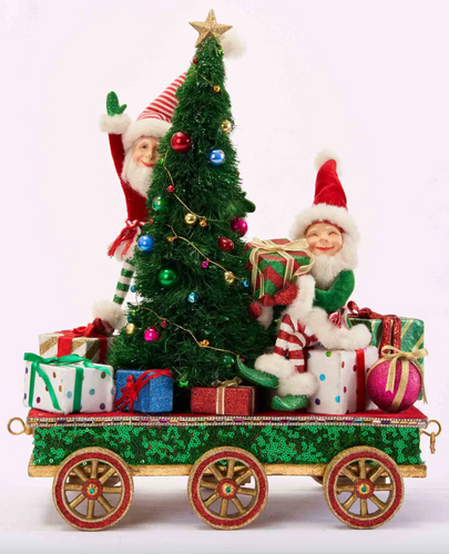 Elves with Tree On Train Car