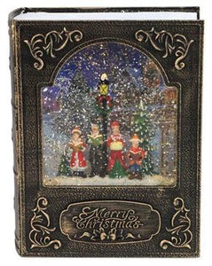 "8.5""CAROLR FAMLY BOOK SNOW GLOBE ANTIQUE GOLD/BLACK"