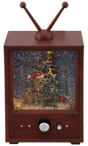 "9""H MUSICAL TV SNOW GLOBE W/DOG/TREE, ANTIQUE BROWN"