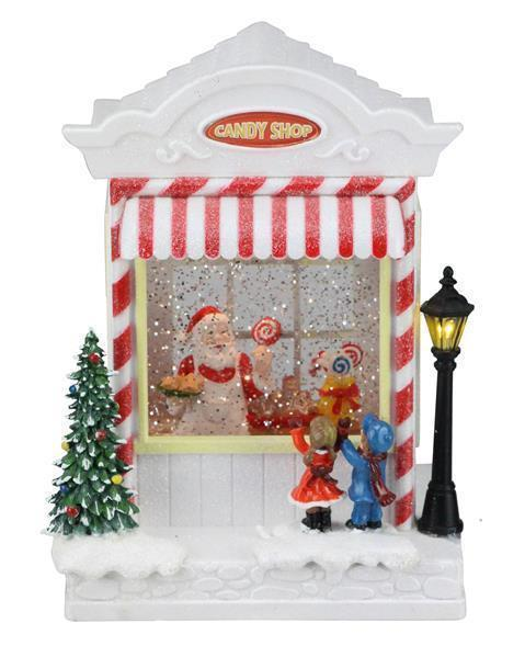 8.75SANTA/CANDY SHOP SNOW GLOBE RED/WHT