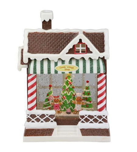 10CANDY VILLAGE SHOP SNOW GLOBE CHOC/RED/GREEN