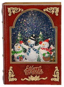 "8.25""X6""L SNOWMAN BOOK SNOW GLOBE RED/GOLD"