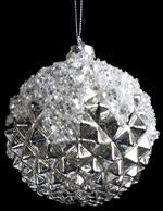 100MM GLASS BALL ORNAMENT SHINY ANTIQUE SILVER