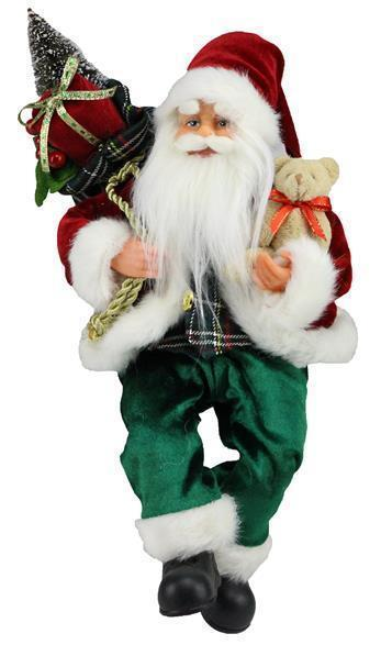 12TRADITNL SITTING SANTA W/BEAR RED/EMERALD GREEN/GOLD