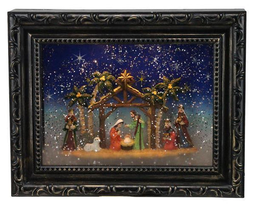 9.5NATIVITY PICTURE SNOW GLOBE MATTE BRWN/GLD