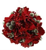 4.5 HYDRANGEA BALL ORNAMENT RED/OAK M