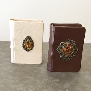 Leather Journal with amber stone medallion (small)
