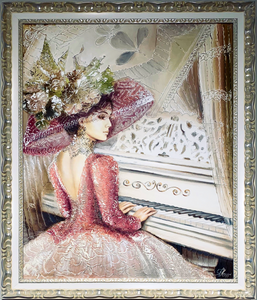 Girl with piano oil on canvas