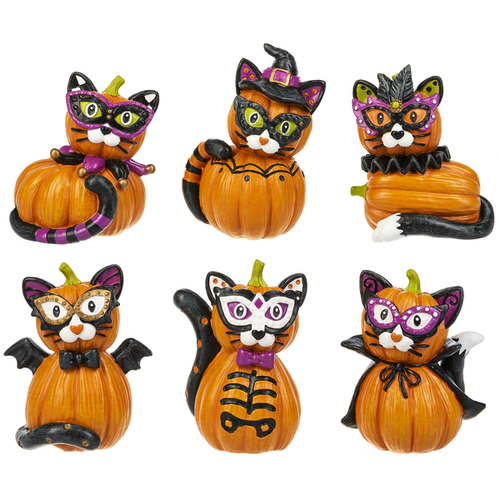 Costume Cats Pumpkin Figurines