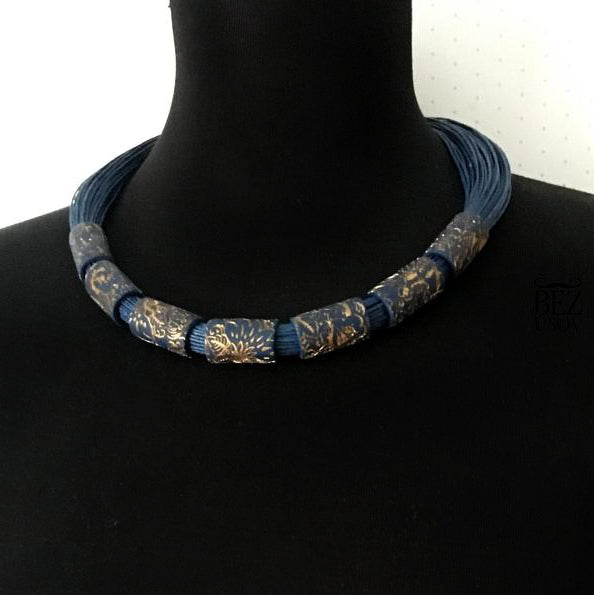 Dark Blue Floral Necklace