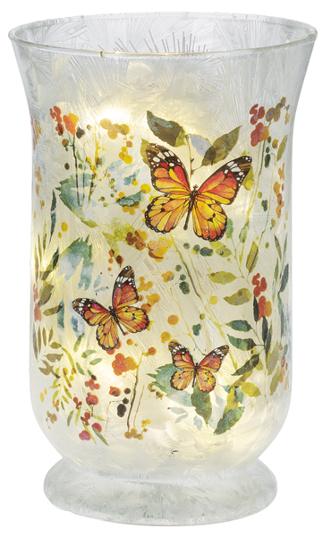 LED Light Up Monarch Butterfly Traditional Vase