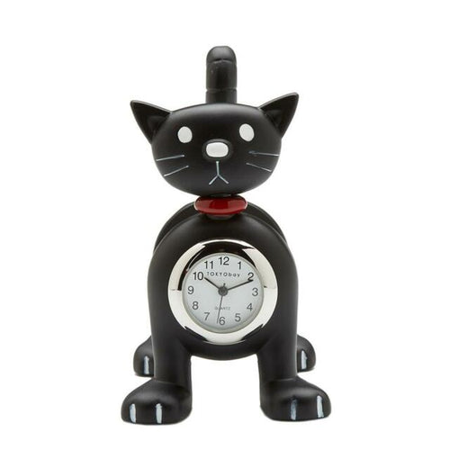 Cat Clock Black