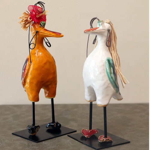 Tall Ceramic Bird (Brown, Yellow, Green, Red, Blue or White)