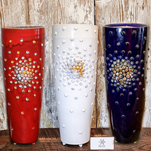 Tall Ceramic Vase with Bubbles (Available in White, Red, or Blue)