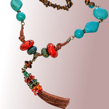 Hand made Necklaces with Turquoise Swarovski crystals red ceramic beads