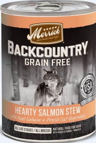 Merrick Backcountry Grain Free Hearty Salmon Stew Canned Dog Food