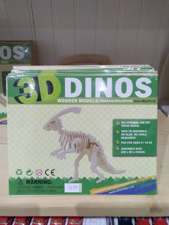 Wooden Dinosaur Model  Parasaurolophus Toy