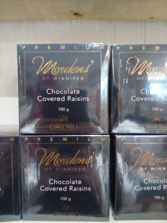 Mordens chocolate, chocolate covered raisins