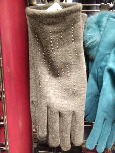 Grey glove with sequins