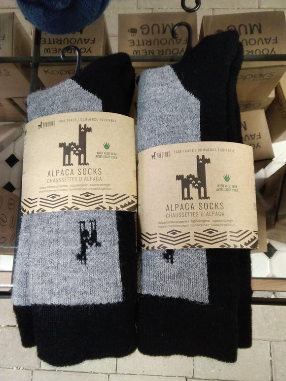 Alpaca socks black and grey