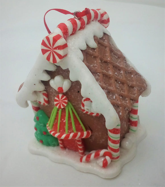 Gingerbread House Christmas Tree Ornament- Brown