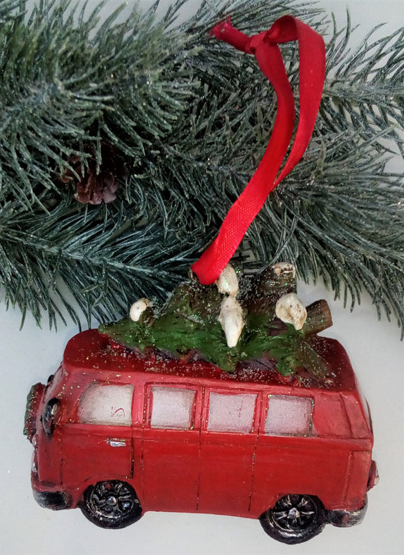 Red Van with Christmas Tree Ornament