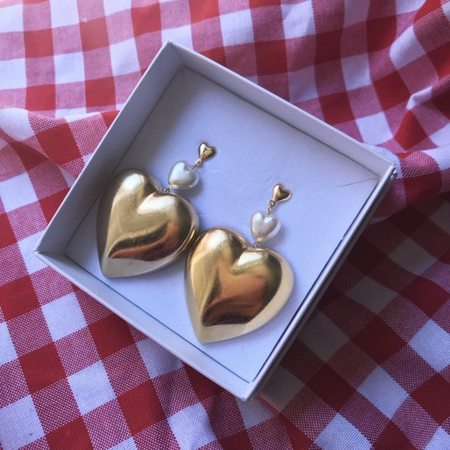 HOLY RECYCLE HEART 18K GOLD FILLED EARRINGS