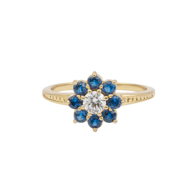 ALL THE LUCK IN THE WORLD FLOWER BLUE TRANSPARENT 18K GOLD RING