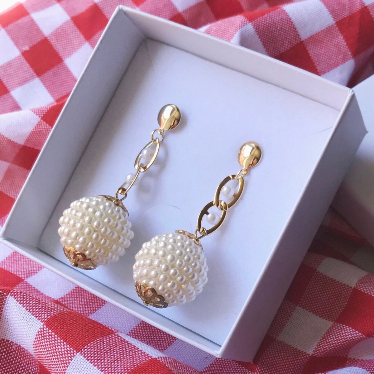 HOLY RECYCLE PEARL DISCO BALLS ON PEARLY CUTIE CHAIN 18K GOLD FILLED EARRINGS