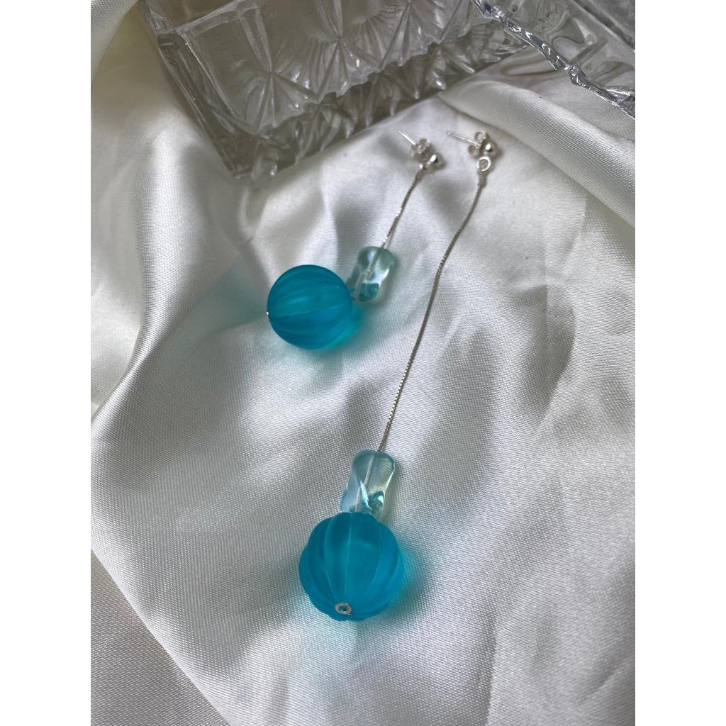 HOLY RECYCLE BLUE DROP SILVER EARRINGS
