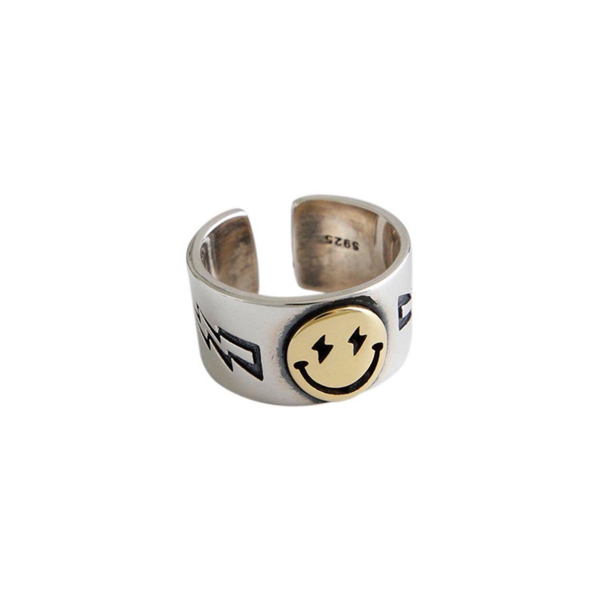 YELLOW SMILEY SILVER RING