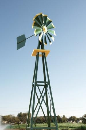 Outdoor Water Solutions BYW0128 Small Green & Yellow Powder Coated Backyard Windmill